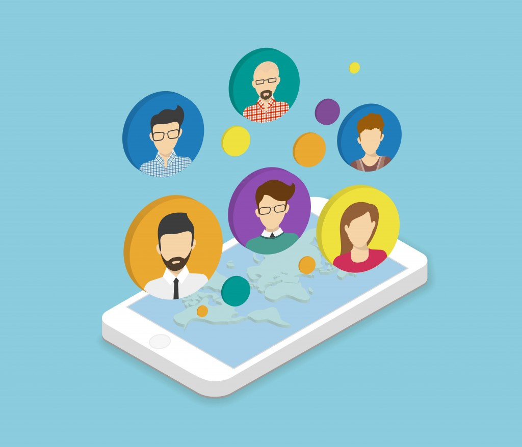 Isometric illustration of people communication via smartphone app